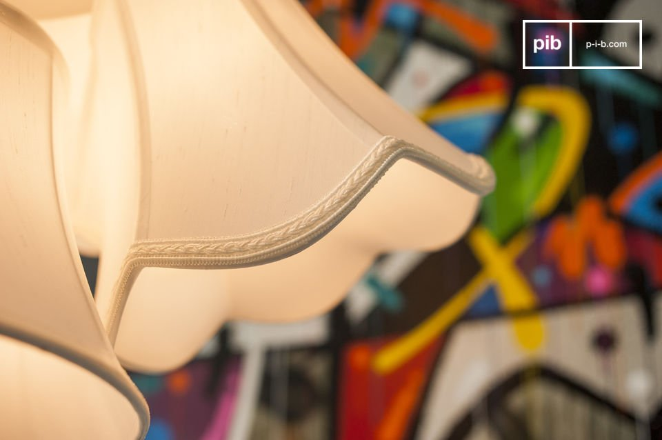 The white lampshades are luminous and reflect natural light