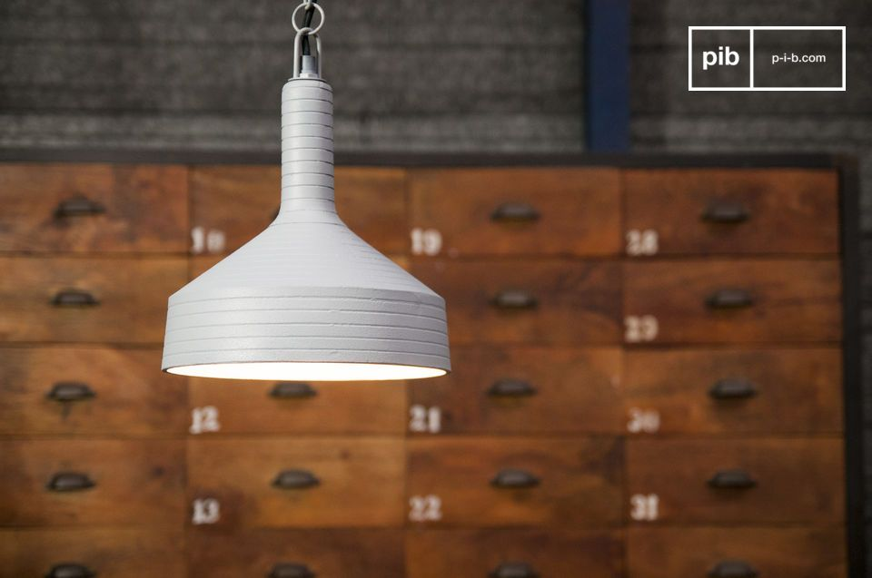 Grey lamp with a simple design and flared and refined lines.