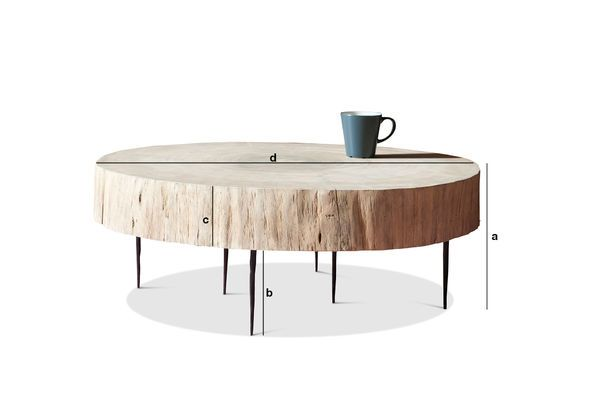 Product Dimensions Natural Luka tree trunk coffee table