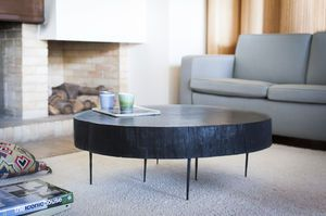Natural Luka tree trunk coffee table black