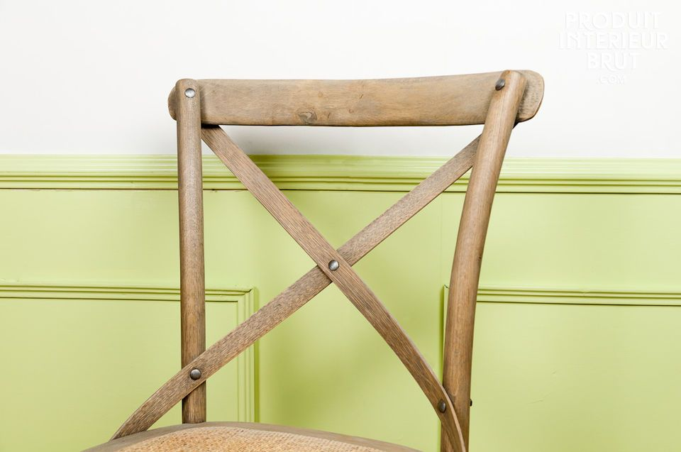 Caned seat and solid wood