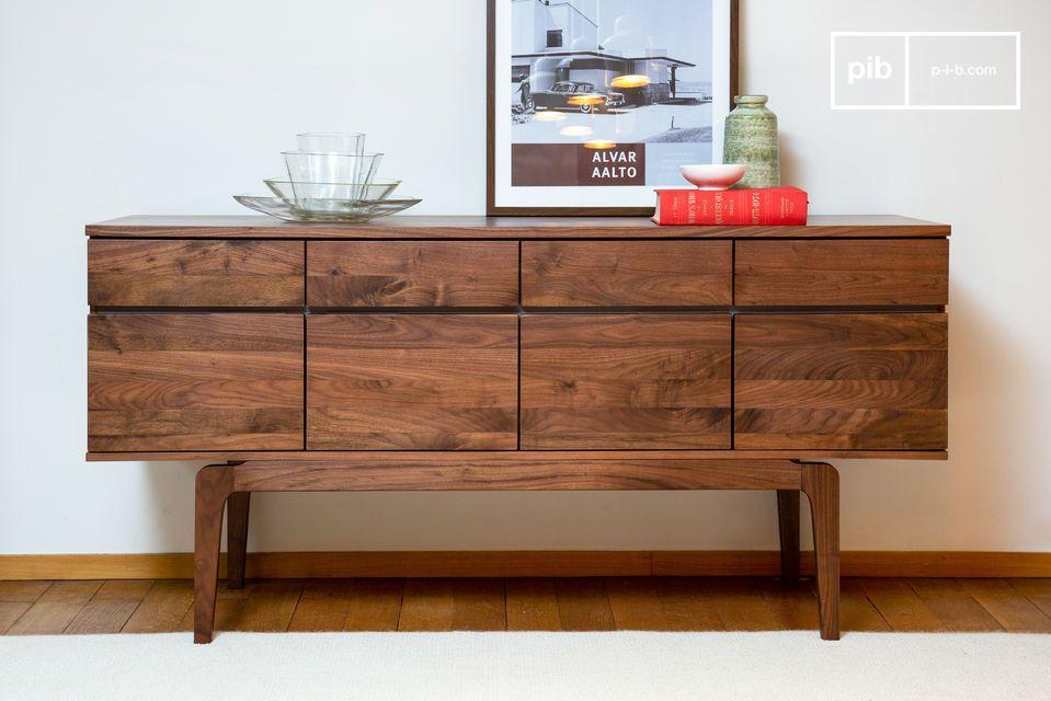 Neliö walnut sideboard