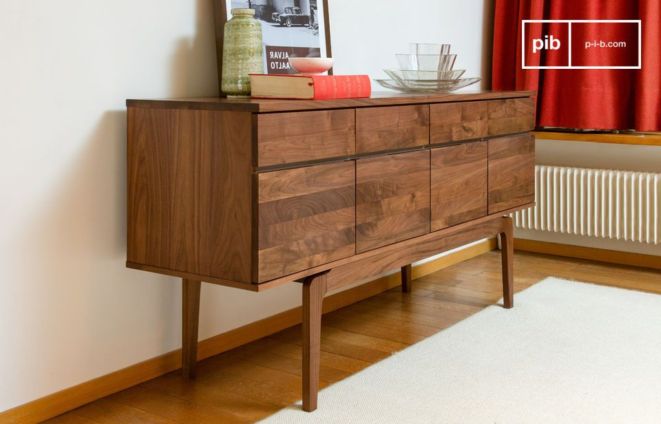 This amazing art deco inspired walnut enfilade cabinet will charm you with its straight lines