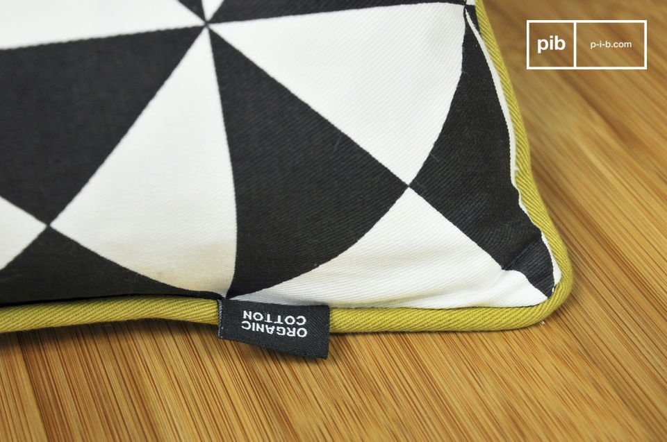 A small cushion made entirely of organically-grown cotton