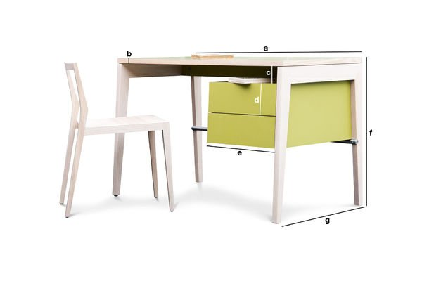 Product Dimensions Nöten desk with drawers