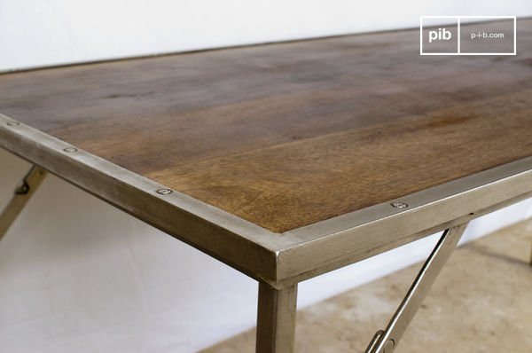 Oak and steel folding table