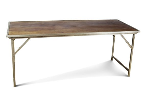 Oak and steel folding table Clipped