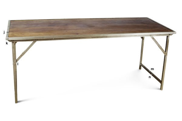 Product Dimensions Oak and steel folding table