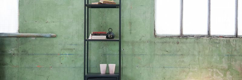 Old collection of industrial bookcases