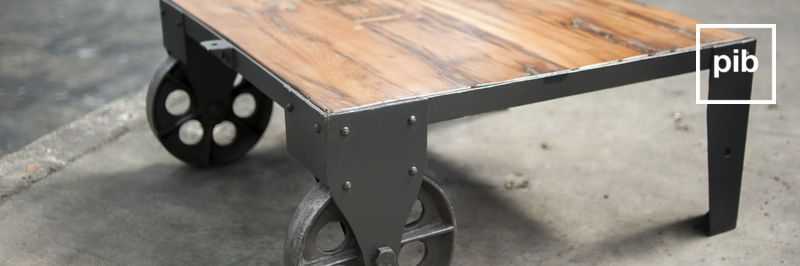 Old collection of industrial coffee tables