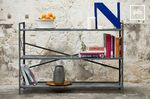 Old collection of industrial console tables