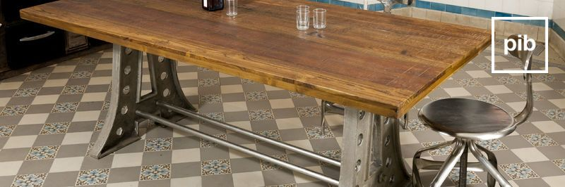 Old collection of industrial dining tables
