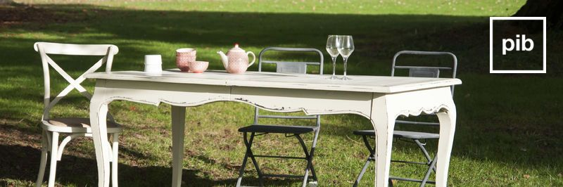 Old collection of shabby chic dining tables