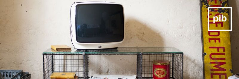 Old collection of vintage industrial tv stands