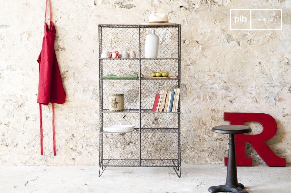 A charming metal bookcase.