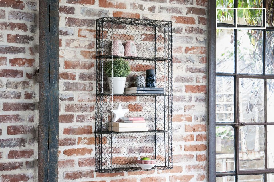 An industrial style wall bookcase