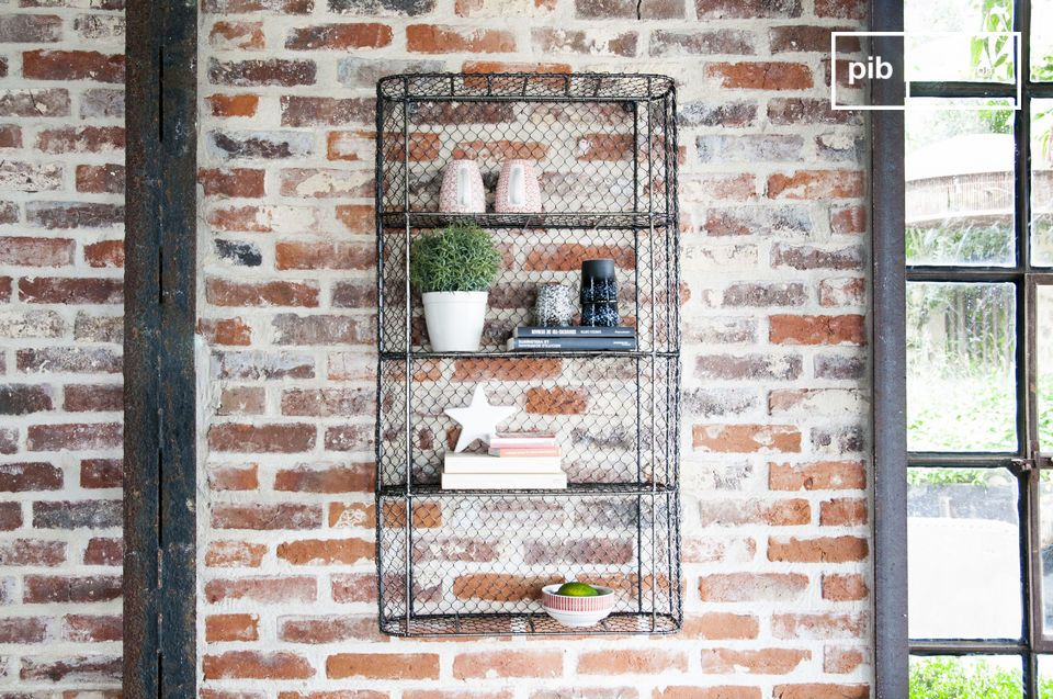Beautiful wire mesh wall library.