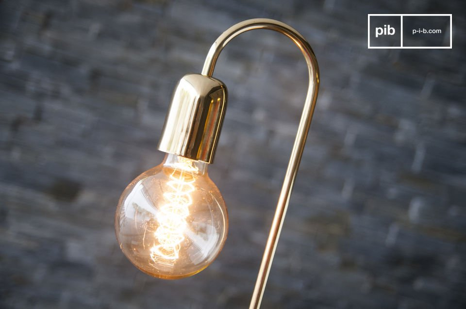 The tube of the lamp has been given a beautiful colour gold and curves over at the top which the socket is perfectly integrated in to