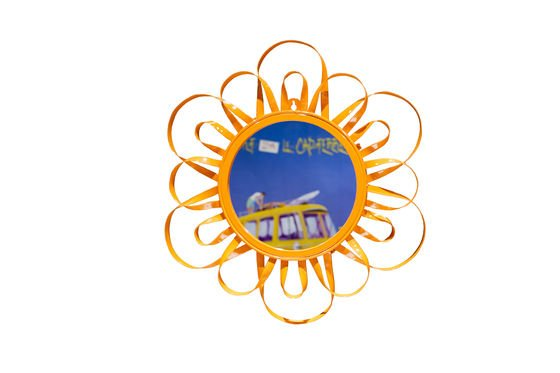 Orange Aurinko Mirror Clipped