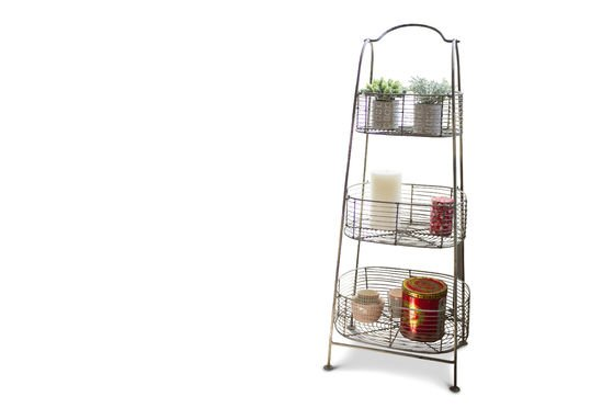 Patina metal rack with 3 baskets Clipped