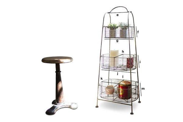Product Dimensions Patina metal rack with 3 baskets