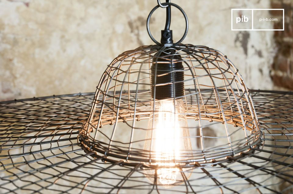 A lamp made of braided metal for an extravagant result