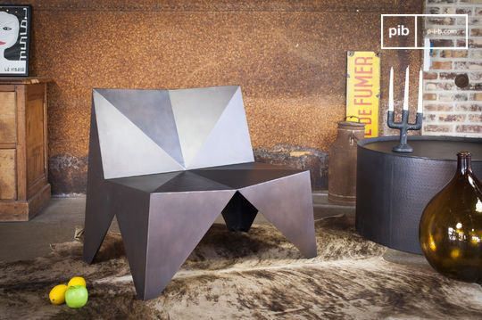 Polygonal Metal Armchair