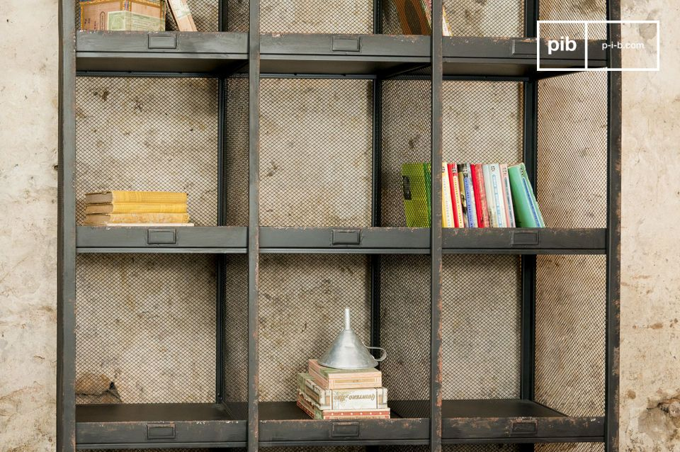 Typical of early 20th Century sorting offices, these shelves have a rust-black distressed finish