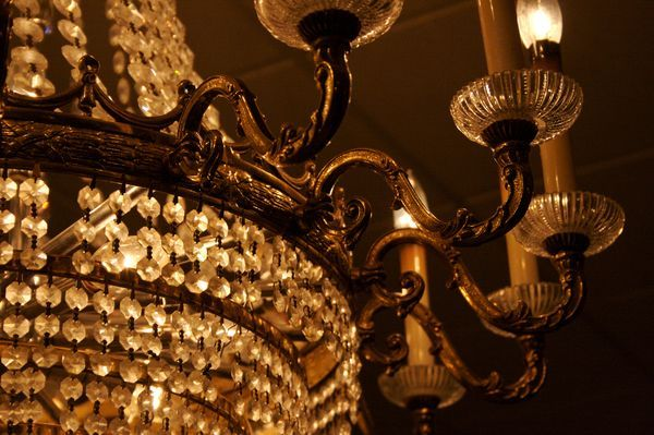 precious chandelier with crystal drops