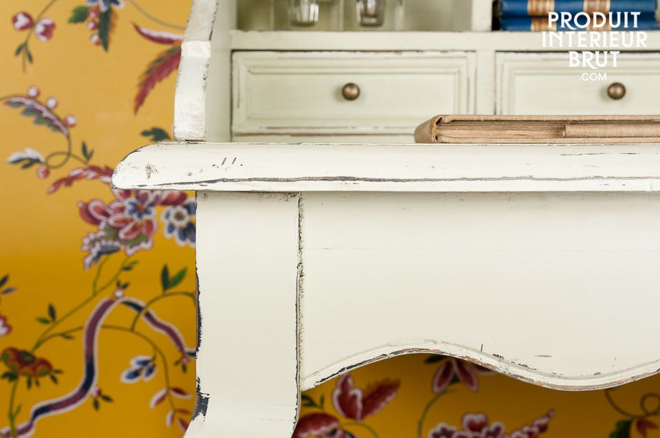 This writing desk is made entirely out of distressed cream solid pine, with wonderful curves