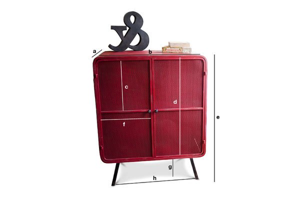 Product Dimensions Red Minoterie Cabinet