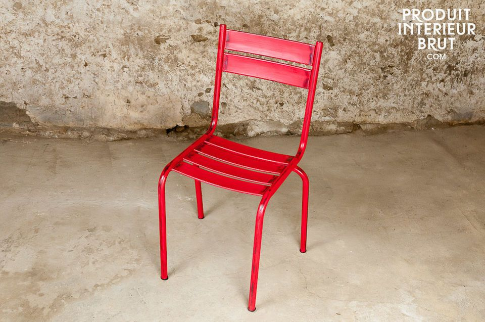 This rock-solid chair has a very pretty distressed red finish