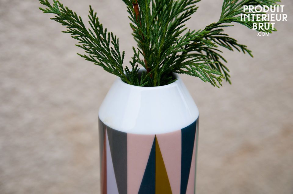 This Remix porcelain vase is decorated with bright retro colours that are the hallmark of the range