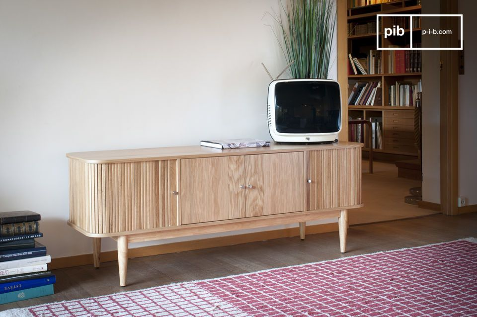The Ritz Curtain TV console combines a light wooden style with an original and well-designed