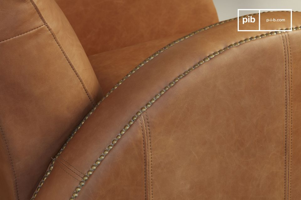 The nailing work is enhanced by a beautiful curved armrest.