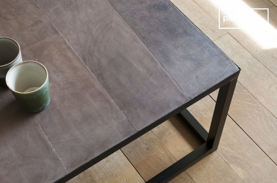 A long coffee table with a chic industrial feel