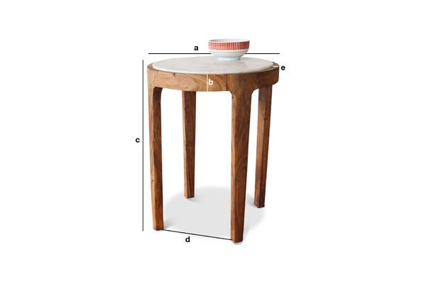 Product Dimensions Round side table Marmori