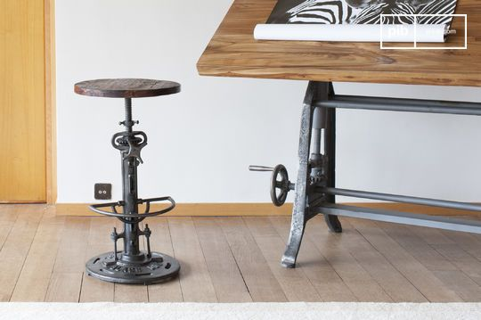 Salvage high teak adjustable stool