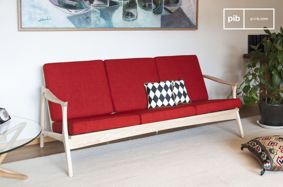 The colourful elegance of a large Scandinavian wood and fabric bench