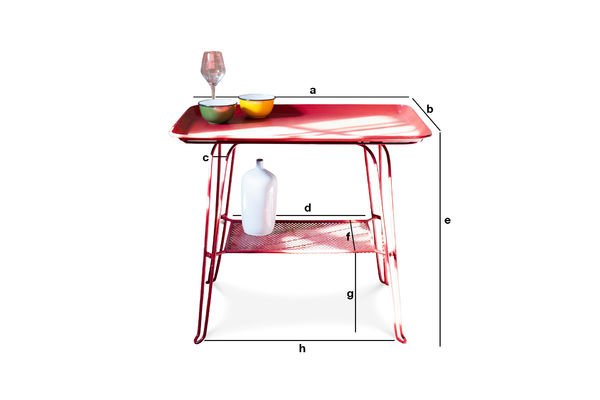 Product Dimensions Scarlet table