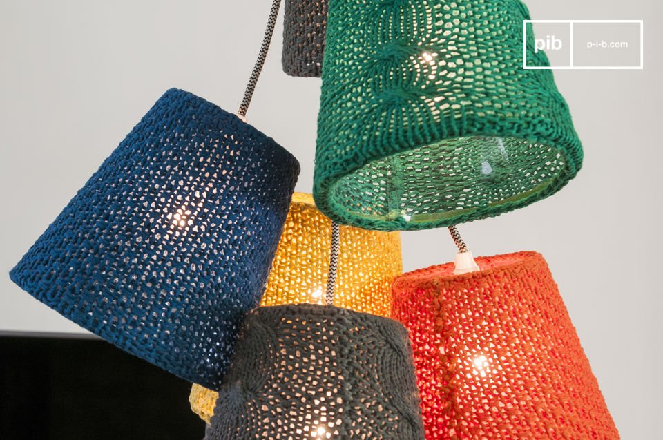 A designer lamp with radiant colours