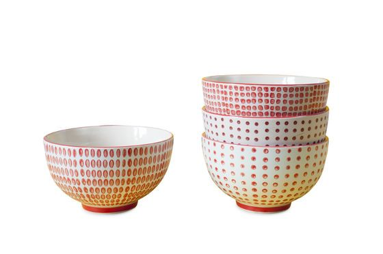 Set of 4 bowls with red polka dots Clipped