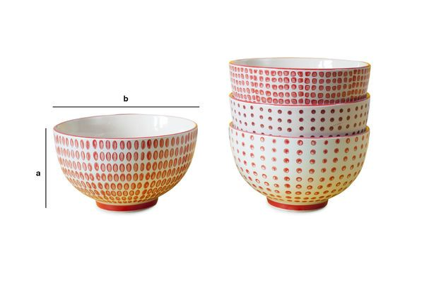 Product Dimensions Set of 4 bowls with red polka dots
