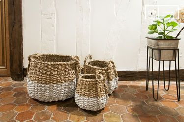 Set of Three Pumpkin Wicker Baskets