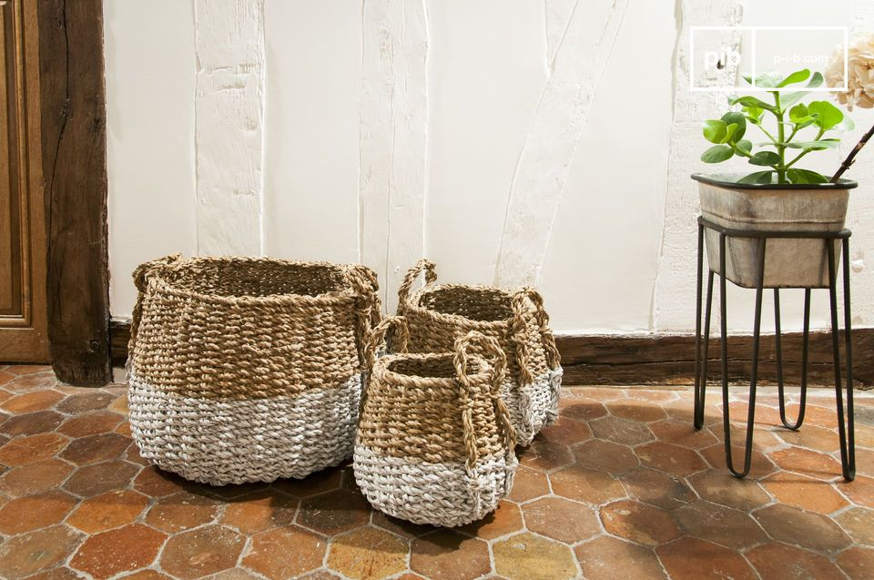 Set of Three Pumpkin Wicker Baskets
