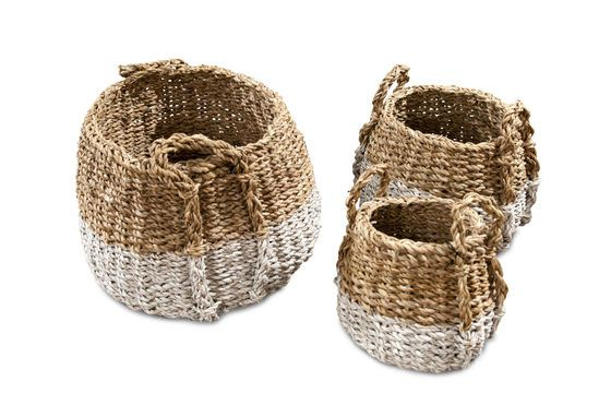 Set of Three Pumpkin Wicker Baskets Clipped