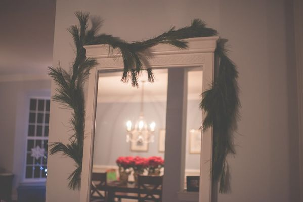 shabby chic mirror with pine decoration