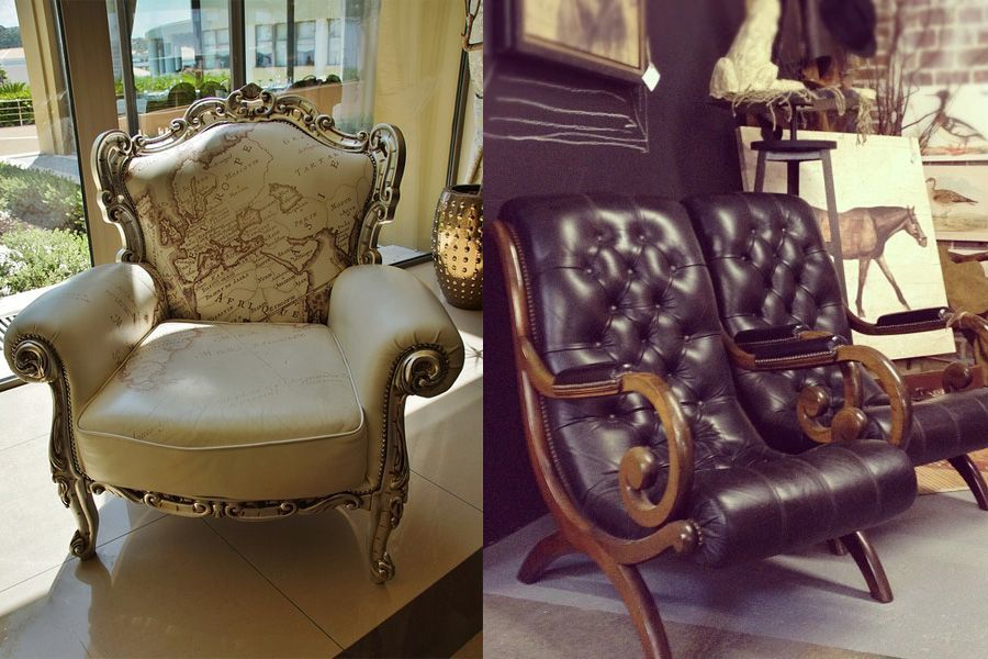 shabby chic style couple armchair