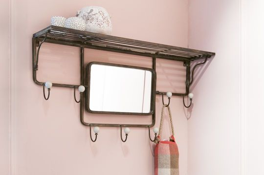 Shelve with hook and adjustable mirror