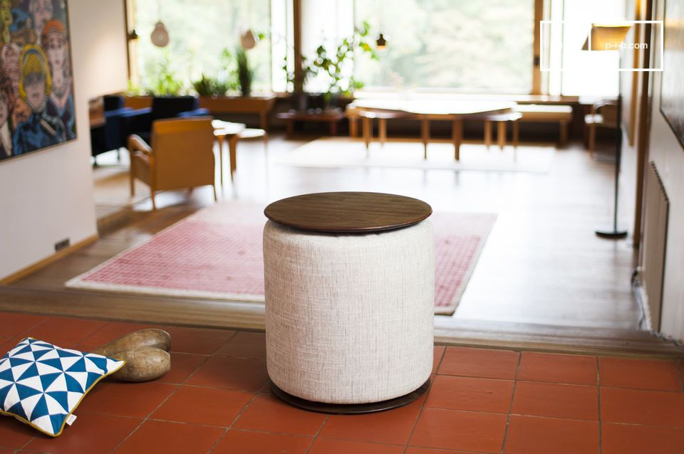 A comfortable pouf hidden around the table